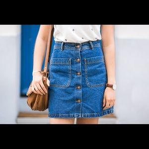 Button Down Denim Skirt - Medium